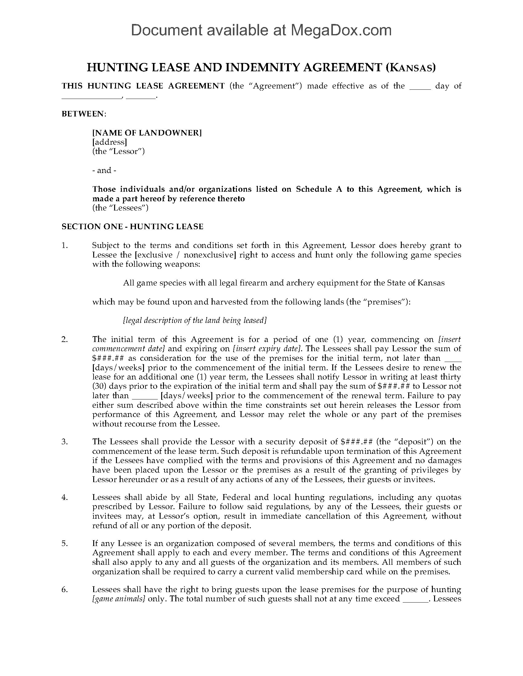 Kansas Hunting Lease Agreement