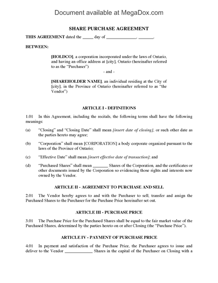 Picture of Ontario Section 85 Rollover Agreement to Exchange Assets for Preferred Shares