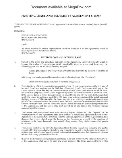Picture of Texas Hunting Lease Agreement
