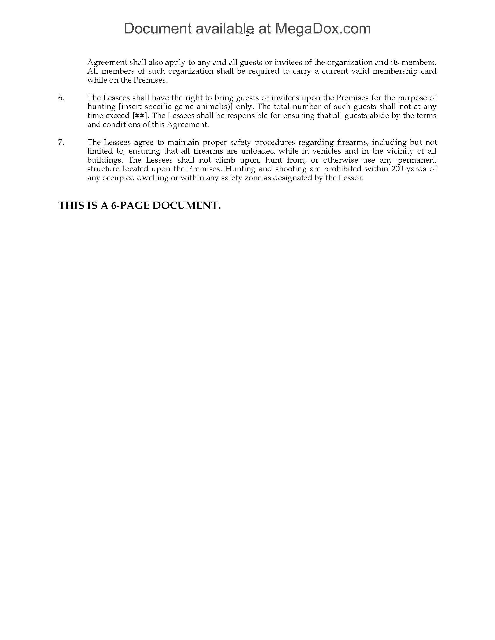 Texas Hunting Lease Agreement