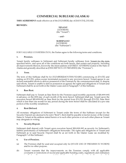 Picture of Alaska Commercial Sublease Agreement