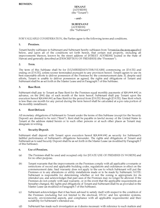 Picture of Hawaii Commercial Sublease Agreement