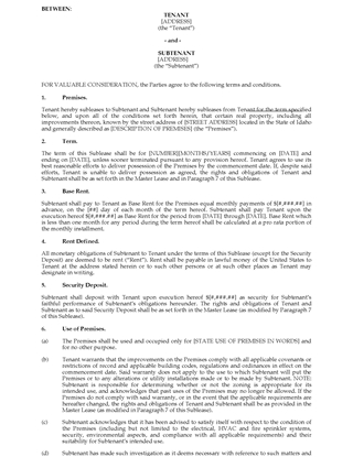 Picture of Idaho Commercial Sublease Agreement