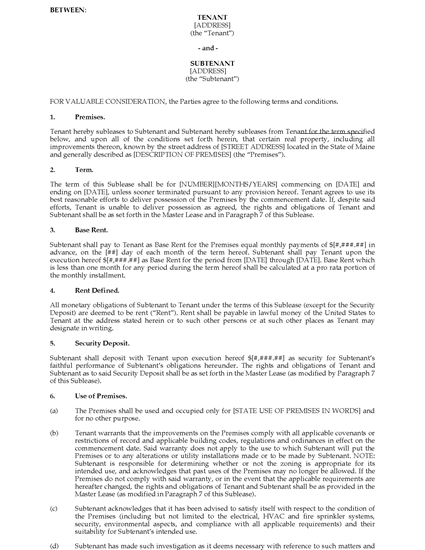 Picture of Maine Commercial Sublease Agreement