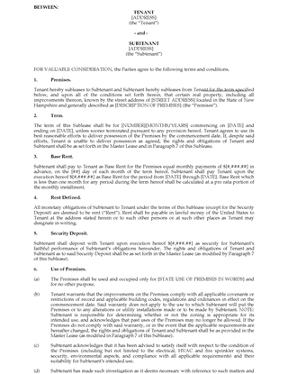 Picture of New Hampshire Commercial Sublease Agreement