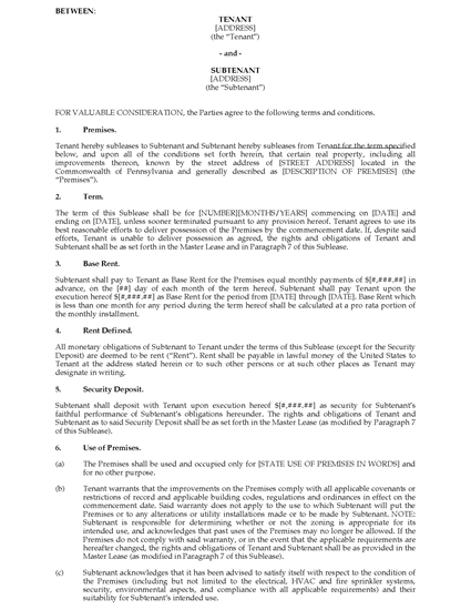 Picture of Pennsylvania Commercial Sublease Agreement