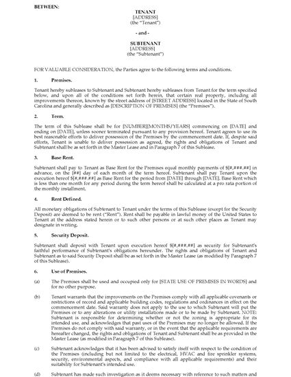 Picture of South Carolina Commercial Sublease Agreement