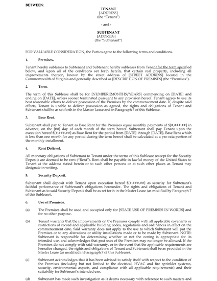 Picture of Virginia Commercial Sublease Agreement