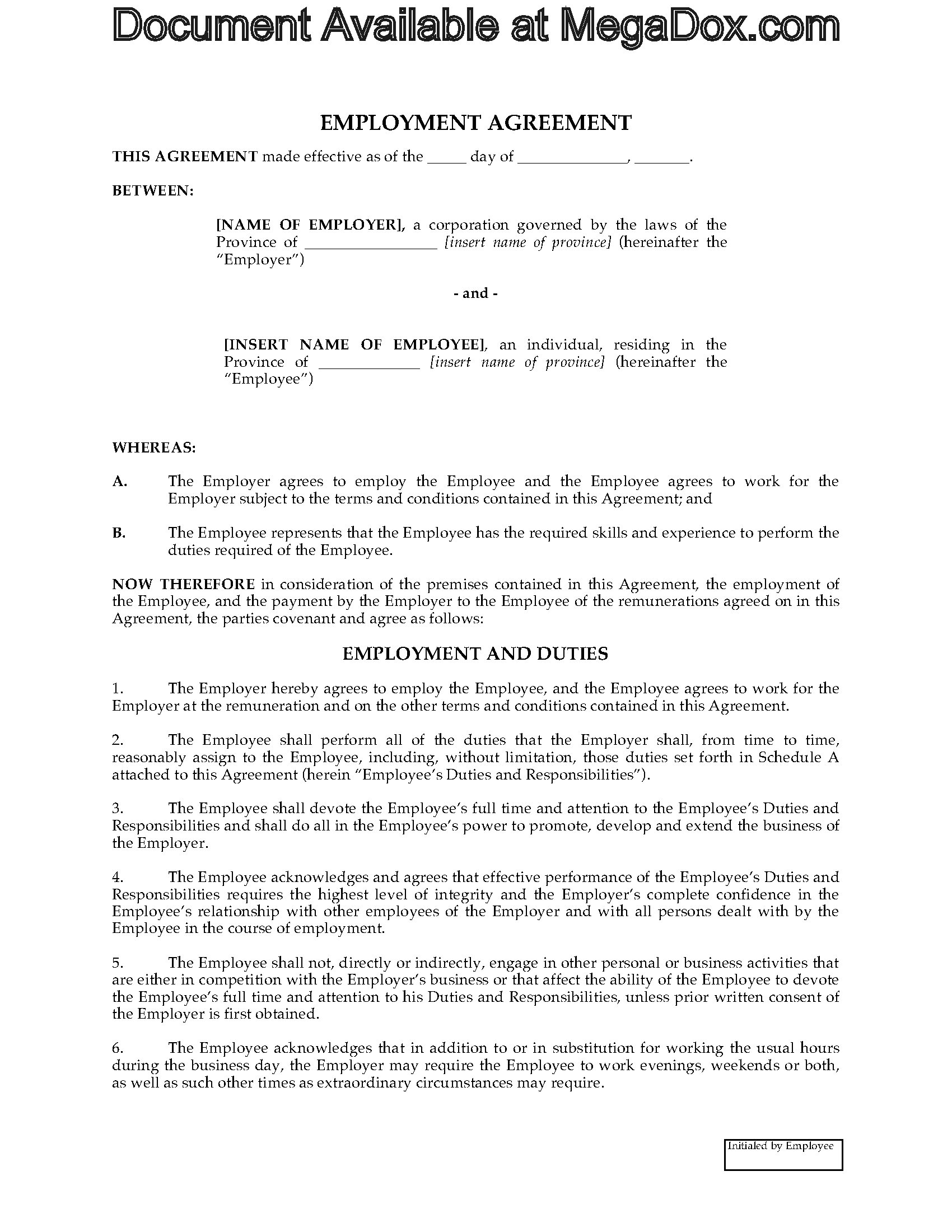 employers contract template - canada employment agreement template legal forms and