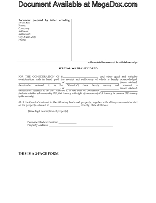 Picture of Illinois Special Warranty Deed