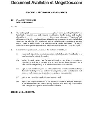 Picture of Assignment of Loan Contracts