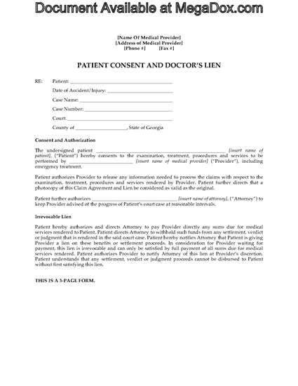 Picture of Georgia Patient Consent and Medical Lien Agreement