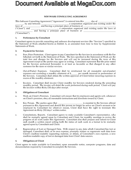 Picture of Software Consulting Agreement