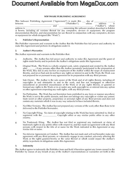 software publishing agreement template legal forms and business templates. Black Bedroom Furniture Sets. Home Design Ideas