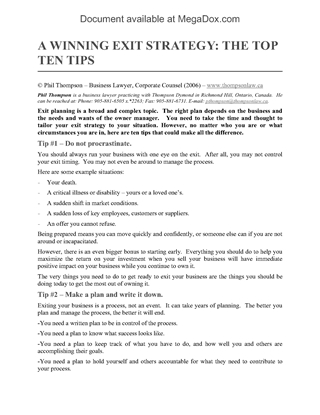 Picture of Top 10 Tips to a Winning Exit Strategy