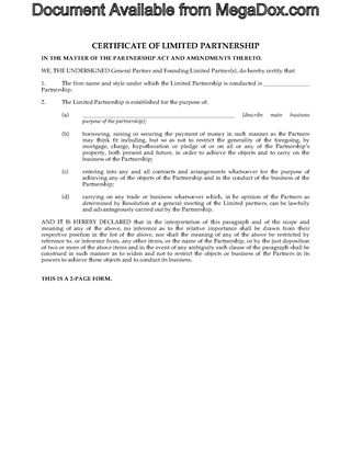 Picture of Alberta Certificate of Limited Partnership