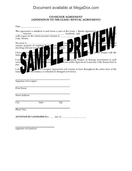 Alaska Lease Co Signer Agreement Legal Forms And Business
