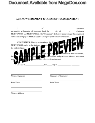 Picture of Guarantor Consent to Assignment of Mortgage | Canada