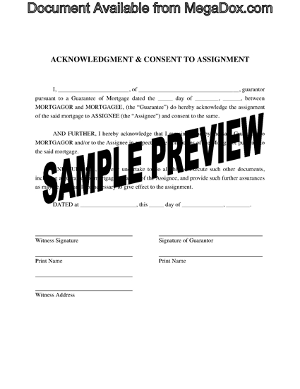 Picture of Guarantor Consent to Assignment of Mortgage   Canada