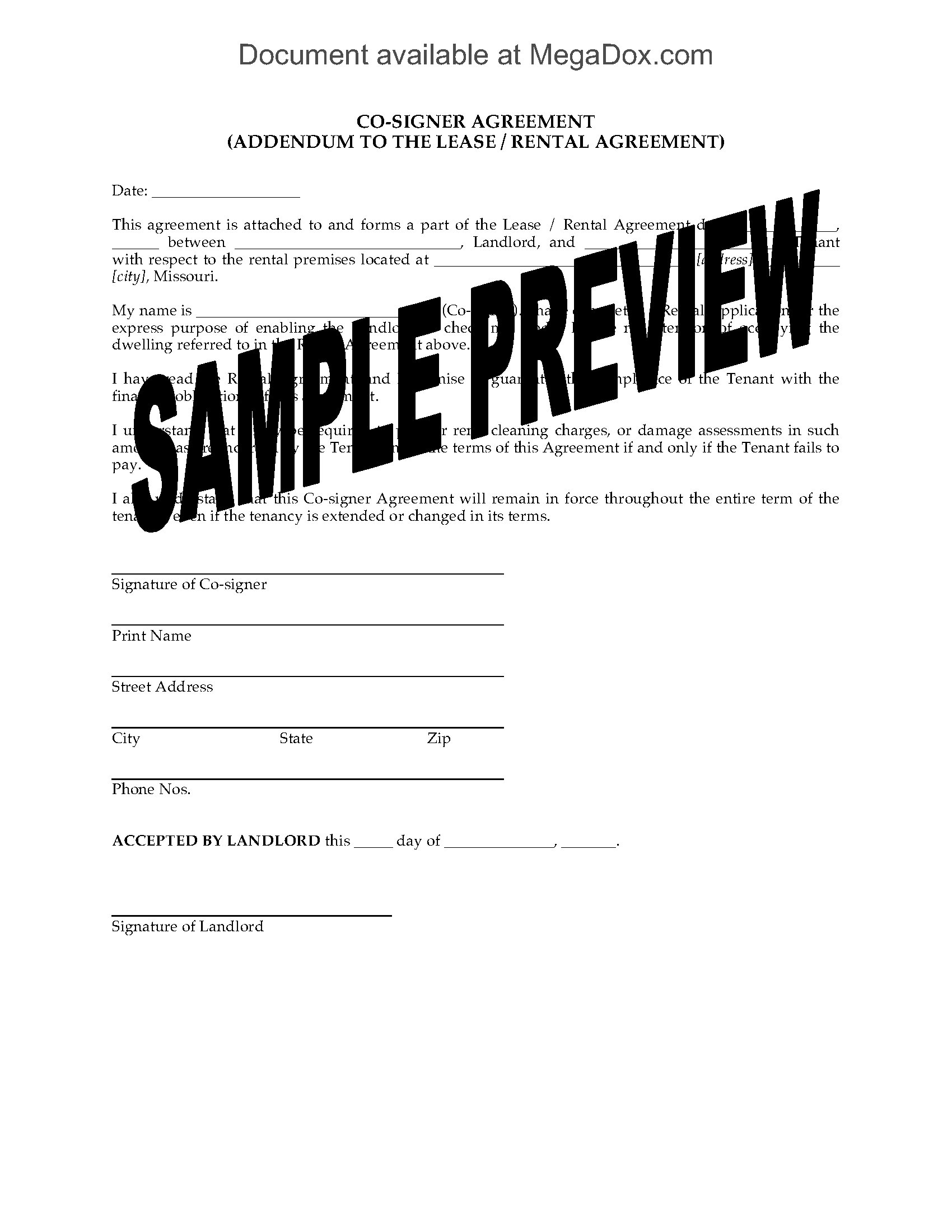 Missouri Lease Co Signer Agreement Form Legal Forms And Business