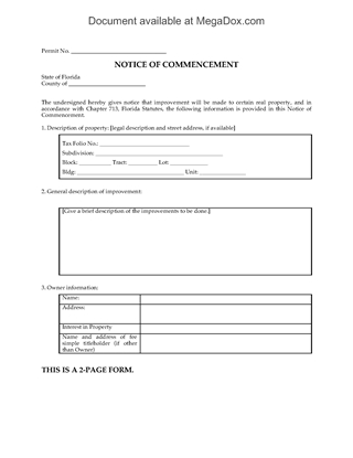 Picture of Florida Notice of Commencement