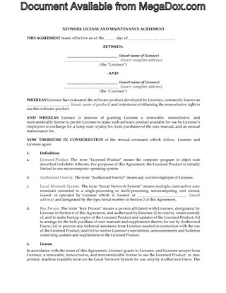 Picture of USA Network Software License and Maintenance Agreement