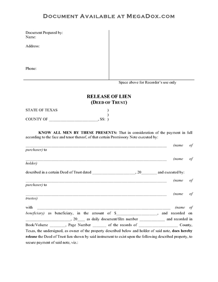 Picture of Texas Release of Deed of Trust
