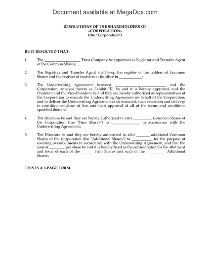 Picture of Shareholders Resolution to Appoint Transfer Agent   Canada