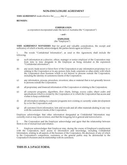 Picture of Employee Nondisclosure Agreement | Australia