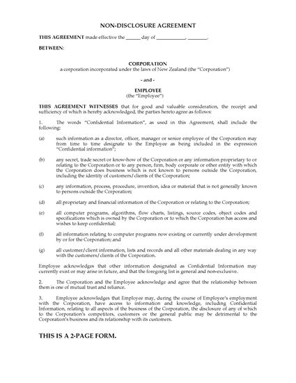Picture of Employee Nondisclosure Agreement | New Zealand