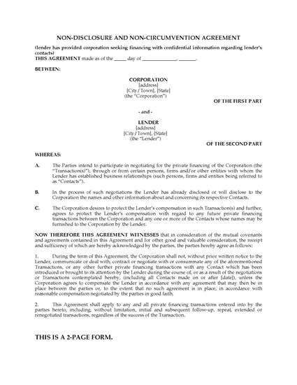Picture of Nondisclosure and Noncircumvention Agreement to Protect Investor Information