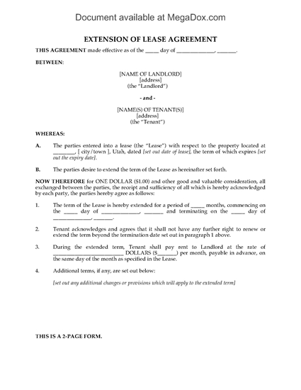 Picture of Utah Extension of Residential Lease