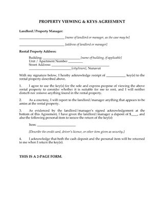 Picture of Nunavut Rental Property Viewing Agreement