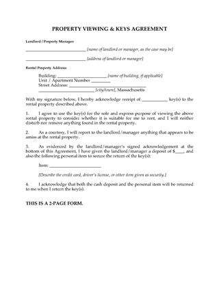 Picture of Massachusetts Rental Property Viewing Agreement