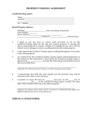 Picture of Rental Property Viewing Agreement | Australia