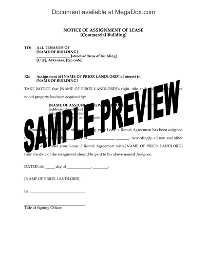 Picture of Arkansas Notice of Assignment of Commercial Lease