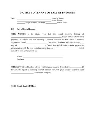 Picture of British Columbia Notice to Tenant of Sale of Rental Premises
