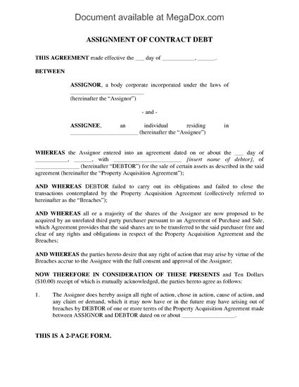 debt assignment agreement Assignment of debt agreement - communicatecom inc, pacific capital markets inc and domain holdings inc and other business contracts, forms and agreeements.