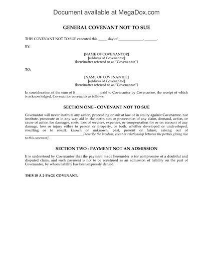 Picture of Covenant Not to Sue