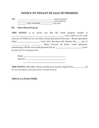 Picture of Colorado Notice of Sale of Rental Premises