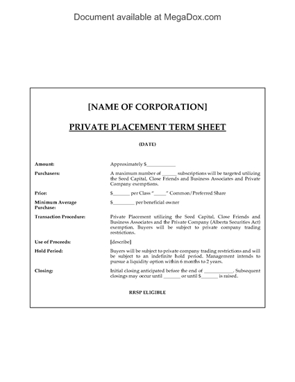 Picture of Alberta Private Placement Term Sheet