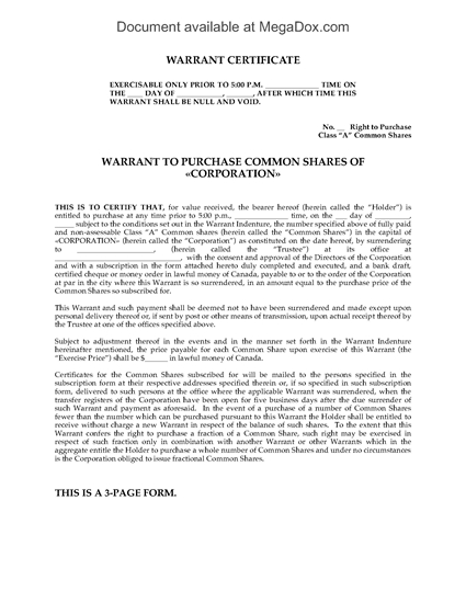 Picture of Warrant to Purchase Common Shares | Canada