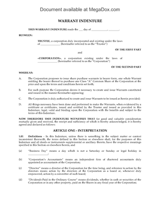 Picture of Warrant Indenture for Common Shares | Canada