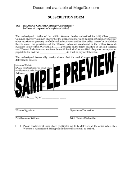 Picture of Subscription Form for Warrant Shares | Canada