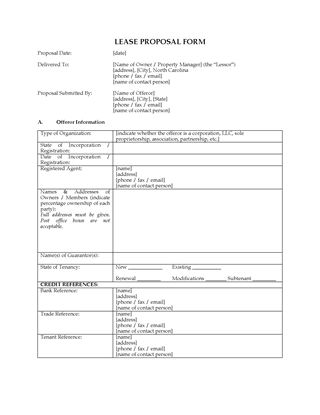 Picture of North Carolina Lease Proposal for Commercial Premises