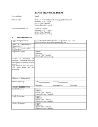 Picture of Texas Lease Proposal for Commercial Premises