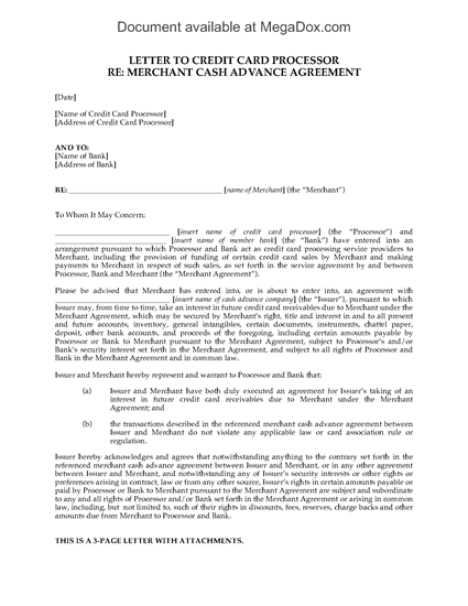 Picture of Merchant Cash Advance Letter to Credit Card Processor | USA