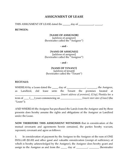 Picture of Florida Assignment of Lease by Landlord