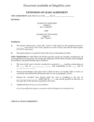 Picture of New York Residential Lease Extension