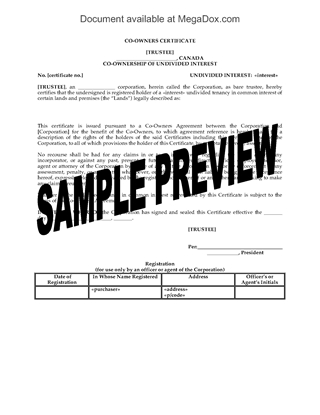 Picture of Alberta Co-Owner Certificate for Syndicated Mortgage Transaction